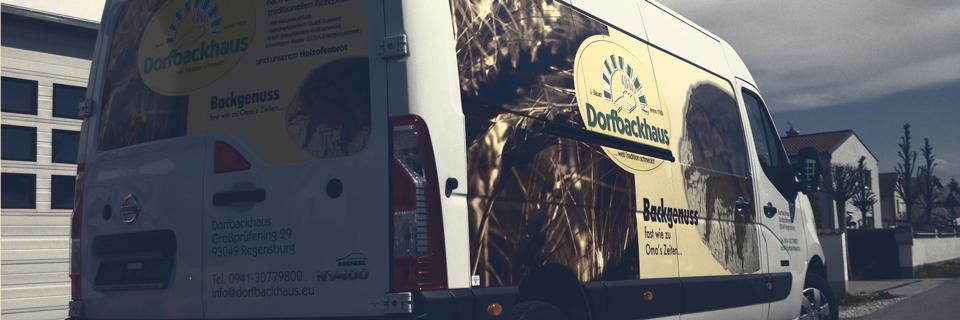 S&S Werbung, Regensburg: Fahrzeugbeklebung Dorfbackhaus